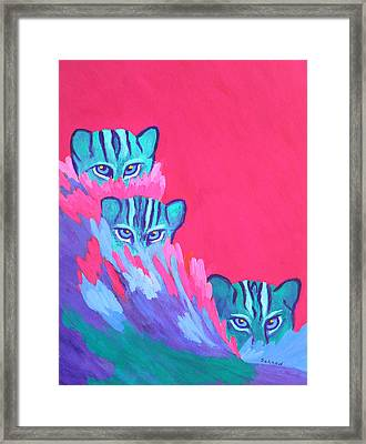 Framed Print featuring the painting Feline Fishers by Margaret Saheed