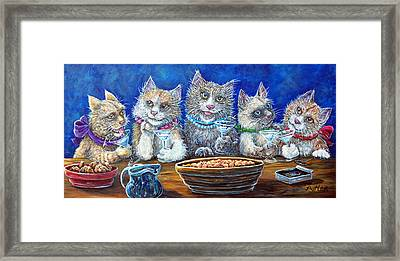Felines After Five Framed Print