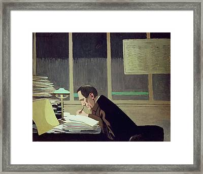 Felix Feneon At La Revue Blanche Framed Print by Felix Edouard Vallotton
