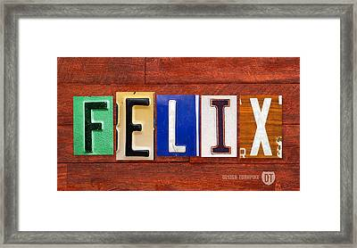Felix License Plate Name Sign Fun Kid Room Decor Framed Print by Design Turnpike