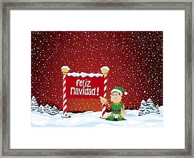 Feliz Navidad Sign Christmas Elf Winter Landscape Framed Print by Frank Ramspott