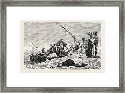 Fellah Ferry Between Keneh And Dendera Framed Print