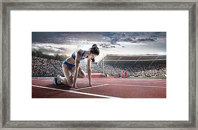 Female Athlete Prepares To Run Framed Print by Dmytro Aksonov