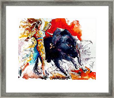 Female Bullfighter Framed Print