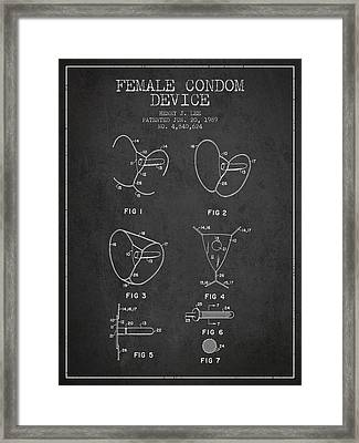 Female Condom Device Patent From 1989 - Charcoal Framed Print by Aged Pixel