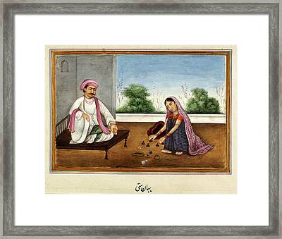 Female Conjuror In India Framed Print by British Library