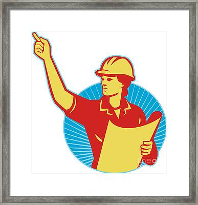 Female Engineer Construction Worker Pointing Retro Framed Print by Aloysius Patrimonio