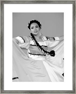 Female Folklorico Dancer Santa Fe New Mexico Framed Print by Mark Goebel