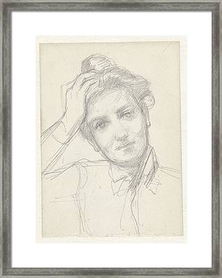 Female Head, Hand On Head, August Allebé Framed Print by Quint Lox