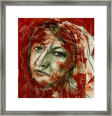Female Head With Red Background Framed Print