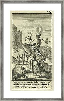 Female Holding A Burning Heart, Beholds The Crucified Christ Framed Print