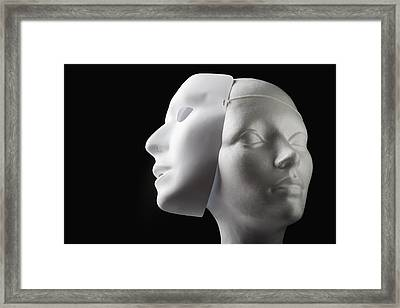 Female Mannequin And Mask Framed Print