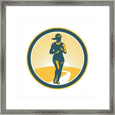 Female Marathon Runner Circle Retro Framed Print