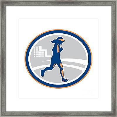 Female Marathon Runner City Retro Framed Print