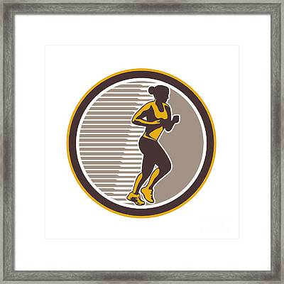 Female Marathon Runner Side View Retro Framed Print by Aloysius Patrimonio
