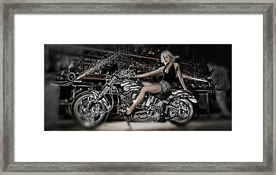 Female Model With A Motorcycle Framed Print by Panoramic Images