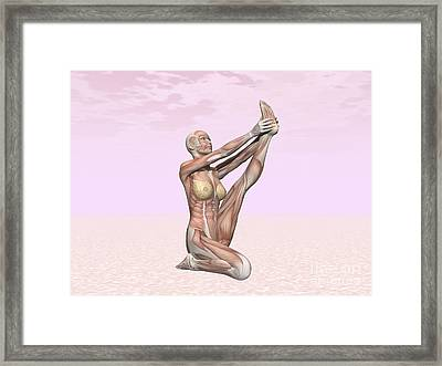 Female Musculature Performing Heron Framed Print by Elena Duvernay