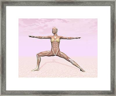 Female Musculature Performing Warrior Framed Print by Elena Duvernay