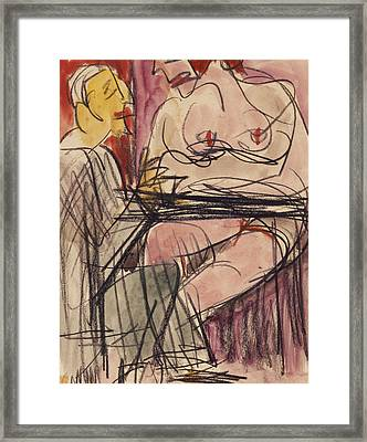 Female Nude And Man Sitting At A Table Framed Print by Ernst Ludwig Kirchner