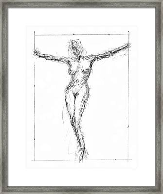 Female Nude In The Pose As Jesus Christ Crucifix  - Pencil Drawing Framed Print by Nenad Cerovic