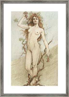 Female Nude With Grapes Framed Print by Armand Rassenfosse
