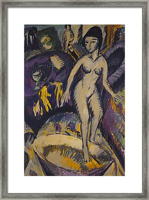 Female Nude With Hot Tub Framed Print by Ernst Ludwig Kirchner
