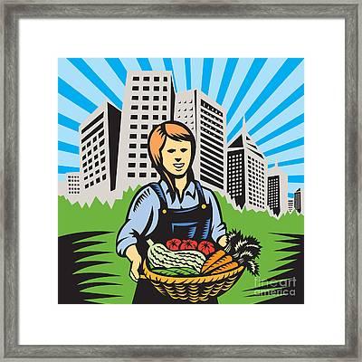 Female Organic Farmer Urban Framed Print by Aloysius Patrimonio