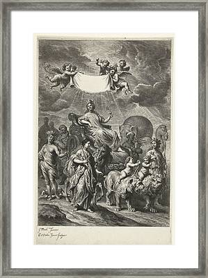 Female Personification Of Geography On Chariot Framed Print by Cornelis Van Dalen Ii