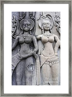 Female Representation Carving On Temple Framed Print by Sami Sarkis