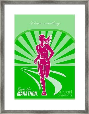 Female Run Marathon Retro Poster Framed Print