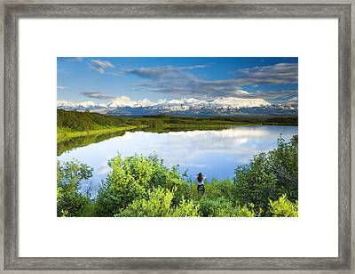 Female Tourist Viewing Mt Mckinley From Framed Print