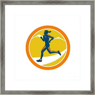 Female Triathlete Runner Running Retro Framed Print by Aloysius Patrimonio