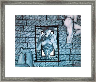 Framed Print featuring the painting Female's Gray World by Fei A