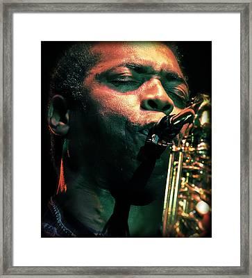 Femi Kuti On Saxophone  Framed Print by Jennifer Rondinelli Reilly - Fine Art Photography