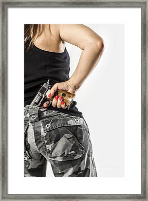 Feminin Agent Framed Print by Carlos Caetano