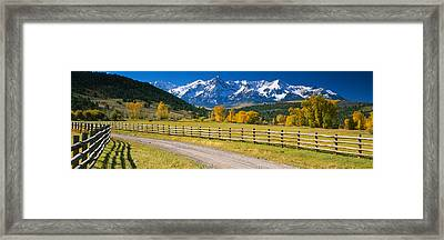 Fence Along A Road, Sneffels Range Framed Print by Panoramic Images