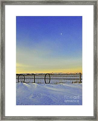 Fence And Moon Framed Print