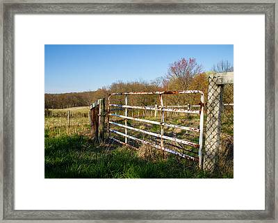 Fence And View Framed Print by Tim Fitzwater