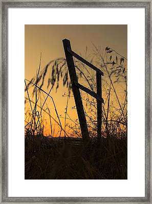 Fence At Sunset I Framed Print