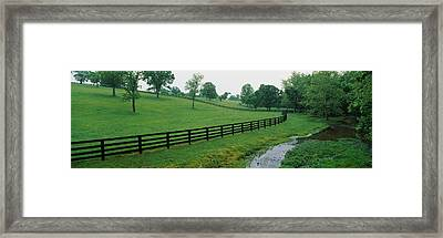 Fence In A Field, Woodford County Framed Print