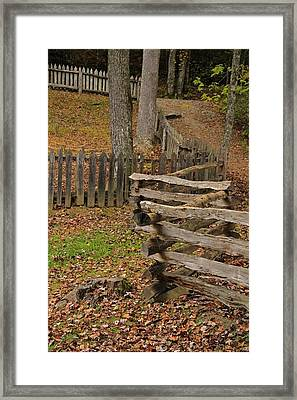 Fence In Autumn Framed Print by Dan Sproul