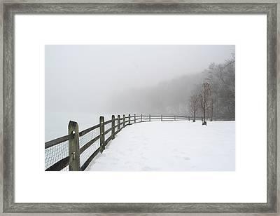 Fence In Fog Framed Print