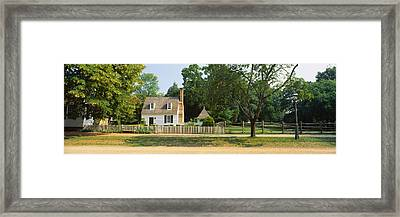 Fence In Front Of A House, Colonial Framed Print