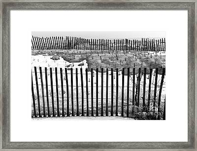Fence Lines Mono Framed Print by John Rizzuto