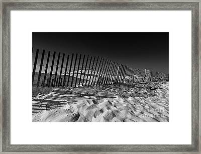 Fence On Beach Framed Print