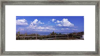 Fence On The Beach, Tampa Bay, Gulf Of Framed Print