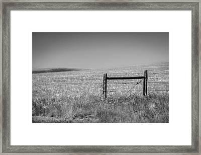 Fence Post Near Choteau Montana Bw Framed Print