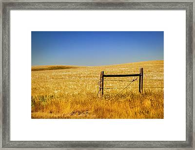 Fence Post Near Choteau Montana Painted Framed Print by Rich Franco