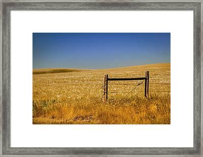 Fence Post Near Choteau Montana Framed Print