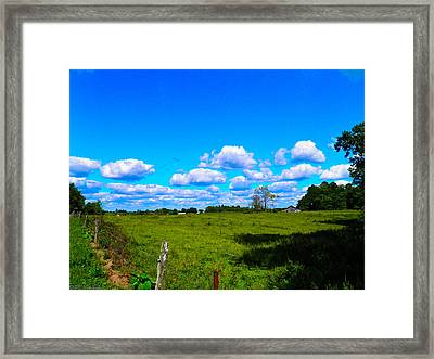 Fence Row And Clouds Framed Print by Nick Kirby